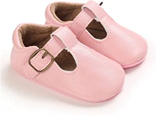 Baby Girls Boys Solid Shoes PU Leather Soft Sole Non-Slip Crib Shoes Toddler First Walkers 0-18M (Baby Age : M, Color : P)