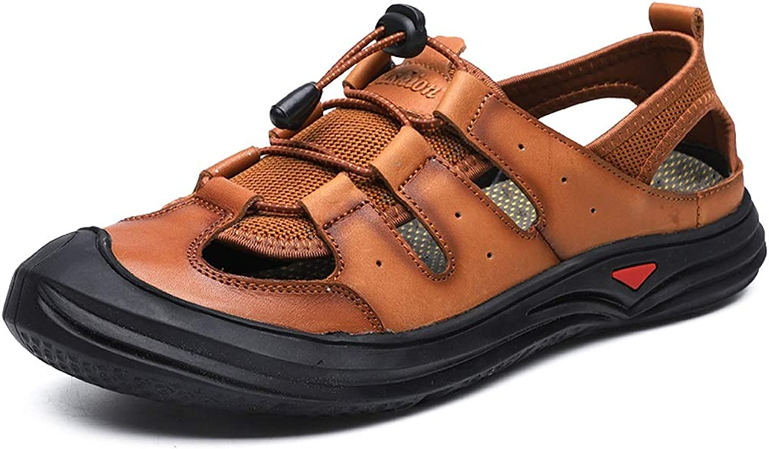 Outdoor Sport shoes Hiking Sandals For Men Genuine Leather Perforated Beach shoes Anti-slip Flat Collision Avoidance Round Close Toe Beach shoes Cricket shoes ( color   Brown , Size   8.5 UK )