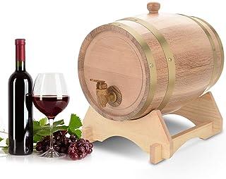 Ejoyous Tonneau de Vin, 5L Chêne en Bois Durable Vintage Tonneau de Vin et Distributeur avec Support Récipient pour Fût à ...