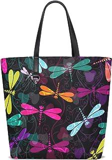 FANTAZIO Schultertasche für Damen, dunkel bunte Libellen Muster