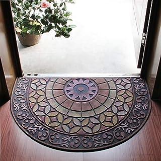 Half Round Entrance Door Mat,Non-Slip Door Mat Hand-Stenciled Entrance Rug Indoor/Outdoor Door Shoe Scraper Entryway,Easy ...