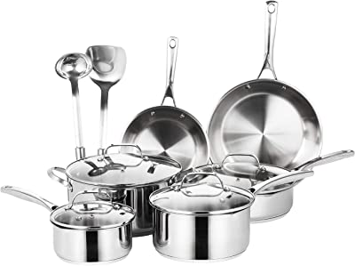 EPPMO 12-Piece SS304 Stainless Steel Cookware Set, Aluminum Fry Pans and Pots, Dishwasher & Induction Safe