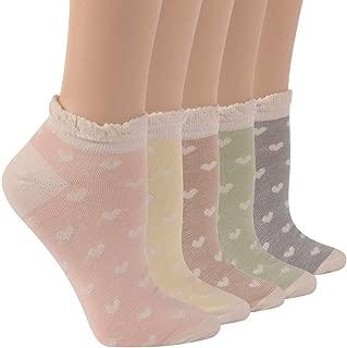 SocksDaze Women's Lace Ruffle Socks Flower Patterned Casual Cotton Dress Socks Christmas Lolita Gifts 5 Pairs