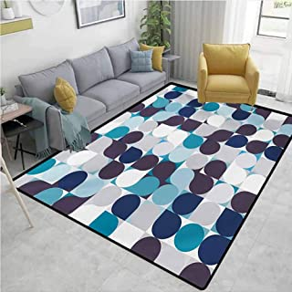 Abstract Non Slip Rugs Retro Inner Circles Pattern with Squares Mosaic Style Old Fashion Print Environmental Protection W63 x L94 Brown Grey Teal White