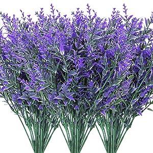 9 Bundles Artificial Lavender Flowers Fake Plants for Home Decor Wedding Kitchen Garden Patio Porch Window Box Office Table Centerpieces Indoor Outdoor Decorations, Purple
