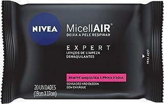 Lenços de Limpeza Demaquilantes Micelar NIVEA MicellAIR Expert 20 unidades, Nivea