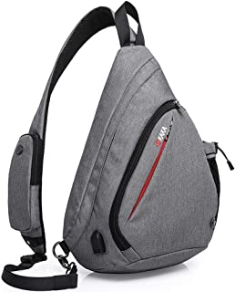 Sling Bag, Crossbody Backpack Canvas Waterproof Daypack Casual Shoulder Bag Traveling Hiking Camping for Men and Women (LARGER GRAY)