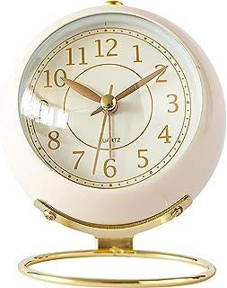 Alarm Clock Bell Desktop Clock Analog Cute Non-Ticking Silent Volume Adjustable Battery Powered for Home Bedroom Travel Of...