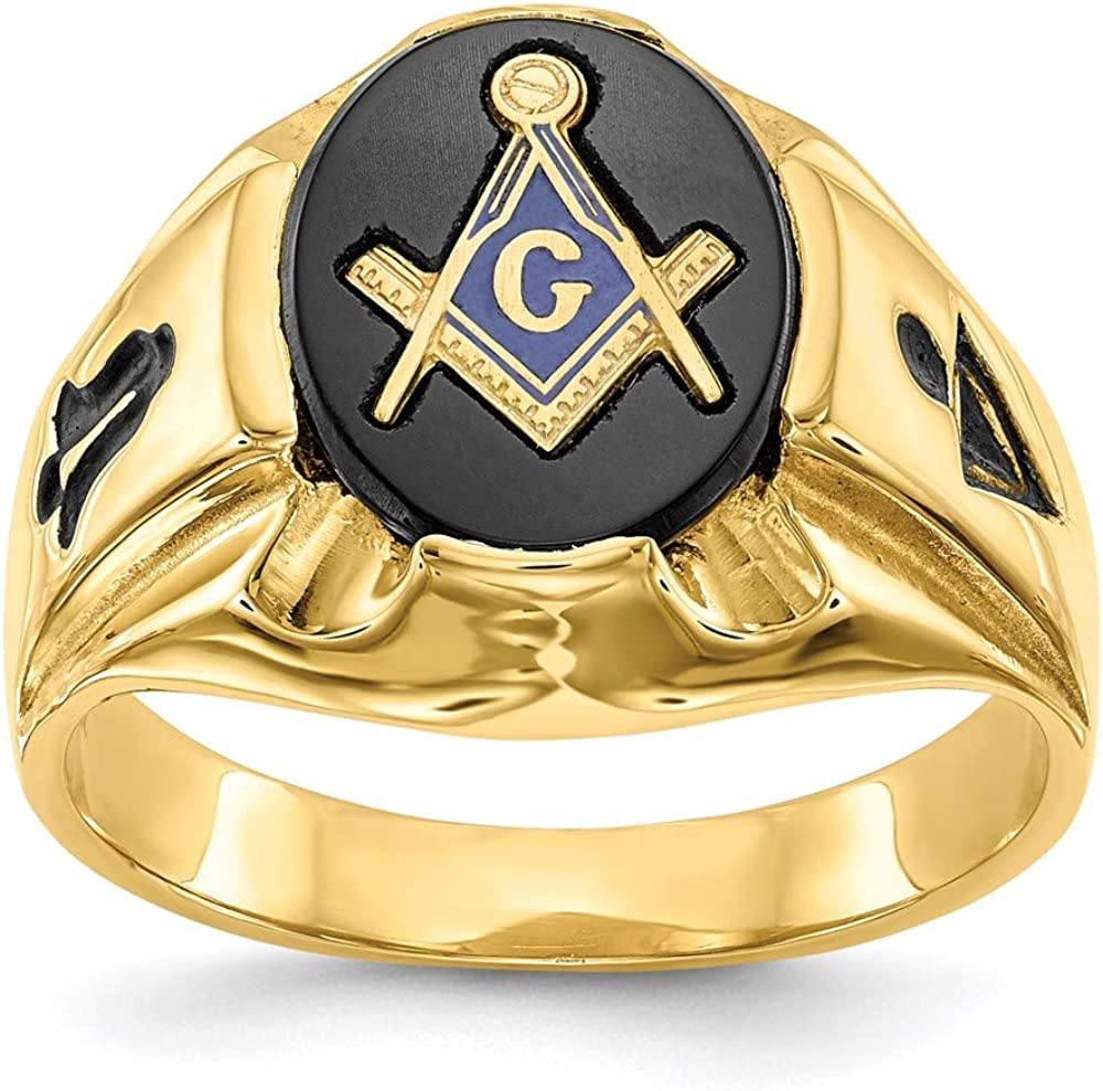 14k Yellow Gold Mens Masonic Freemason Mason Band Ring Size 10.00 Man Fine Jewelry For Dad Mens Gifts For Him