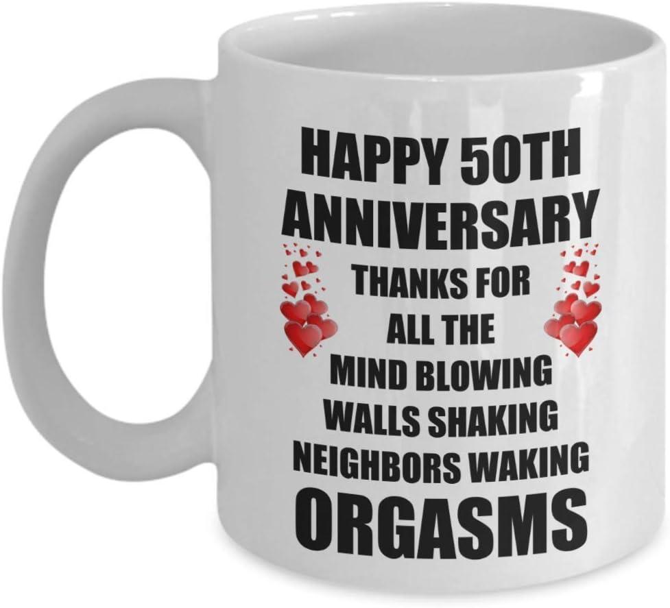 50 años 50 aniversario de bodas Matrimonio Sexy Regalo divertido para el esposo Hombres Él Esposa Mujeres Amante Pareja gay Día de San Valentín Taza de café romántica