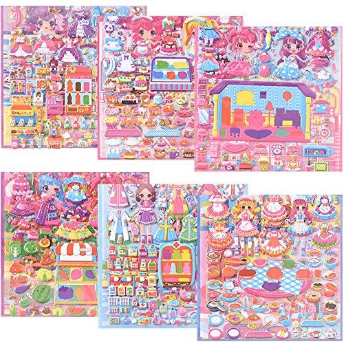 ZoneYan Pegatinas 3D Infantiles, Pegatinas Infantiles, 3D Pegatinas Hinchadas, Stickers Infantiles, Dress Up Stickers, Scrapbooking Pegatinas 3D, para Regalo de Cumpleaños Kawaii (6 Hojas)