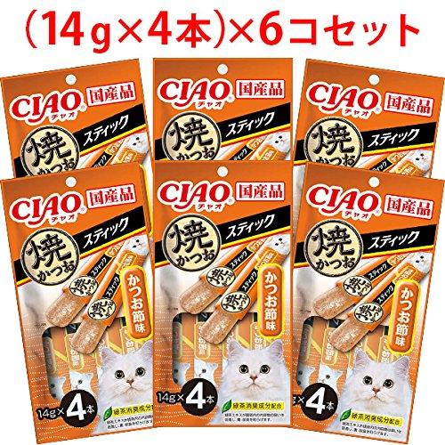 【セット販売】チャオ 焼かつおスティック かつお節味 (14g×4本)×6コ