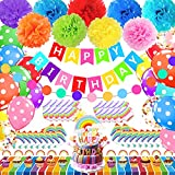 Rainbow Birthday Party Supplies, Rainbow Party Decorations Include Birthday Banner, Colorful Pom Poms, Cake Topper, Cupcake Toppers, Balloons, Plates, Napkins and Rainbow Tablecloth, Happy Birthday Decorations for Kids, Teens and Adults