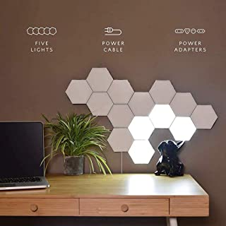 DIY Quantum Lights,Hexagonal Wall Lamp Creative Geometry Assembly LED Night Light Smart Dimmable Touch Sensitive Modular L...