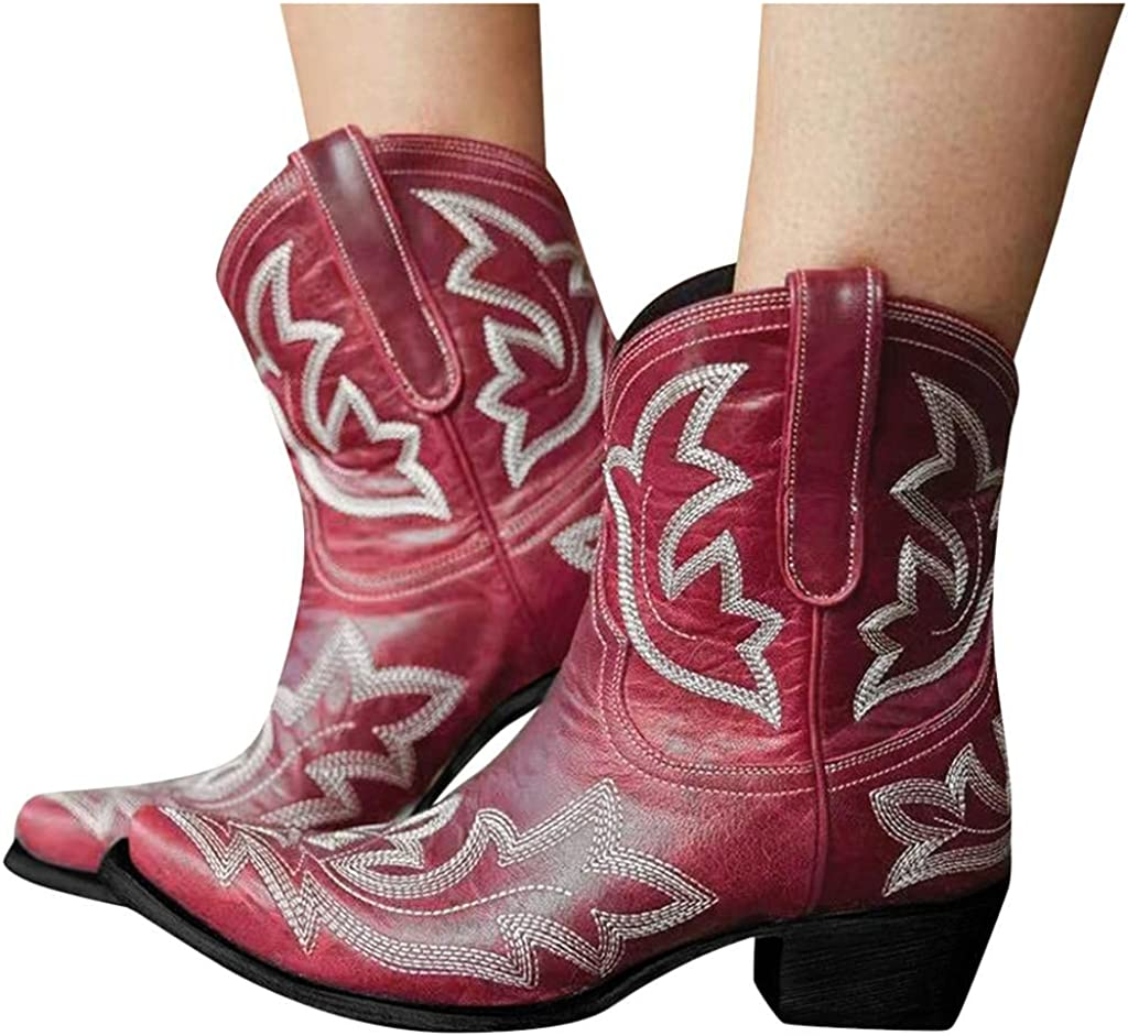 Gibobby Womens Outlet sale feature Sandals Cowboy Boots for Women Slip-On Lo Leather Fashion
