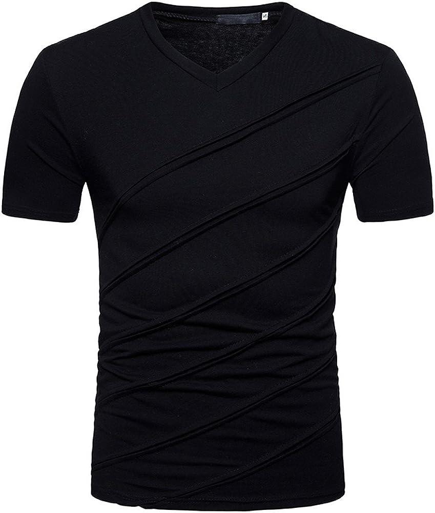 WUAI-Men Summer Tee Shirt Short Sleeve V-Neck Tee - Casual Basic Slim Fit Musle Tops Blouse
