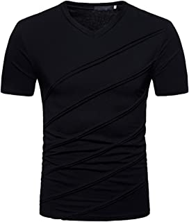 Lefthigh Fashion Personality Men's Casual Slim Leisure Short Sleeve Sport Top Blouse