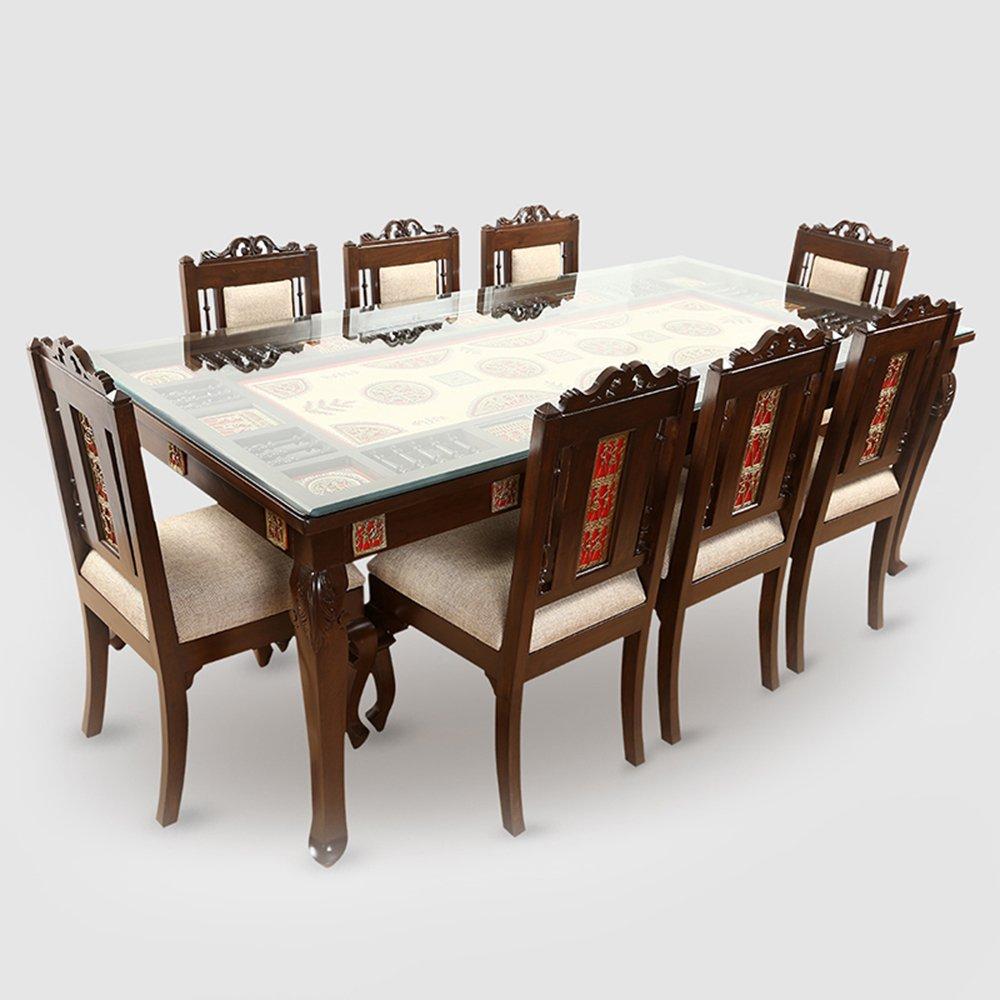 ExclusiveLane Teak Wood 9 Seater Dining Table In Warli & Dhokra ...