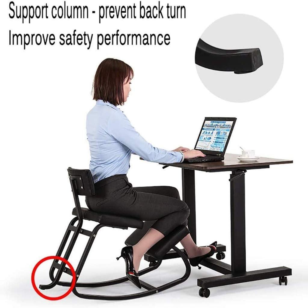 BJH Chaise de Bureau Chaise berçante Chaise à Genoux, Posture Assise correctrice Chaise de Fonction de Colonne vertébrale Ergonomique, Tabouret de Loisirs étudiant Adulte, cad Noir