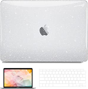 G JGOO Compatible with MacBook Air 13 inch Case 2020 2019 2018 Release M1 A2337 A2179 A1932, Glitter Sparkle Hard Shell Cover + Keyboard Cover + Screen Protector for Air 13 with Retina Touch ID, Clear