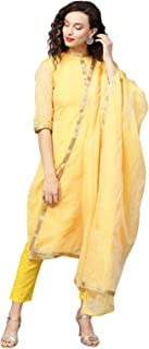 Inddus Yellow Cotton Kota-Checks party wear suit set With Dupatta