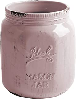 Home Essentials Vintage Mason Jar Collection Antique Blush Utensil Crock, 6.5-Inch Height