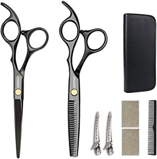 GESPERT Professional Hair Cutting Scissors Shears Thinning Texturizing Set, Size 6 Inch,with Hair Comb, for Personal and Professional Barber