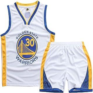 Camisetas de Baloncesto para niño y niña, Stephen Curry #30 Camiseta de Baloncesto para niño Chaleco Pantalones Cortos de Verano Camiseta NBA Golden State Warriors
