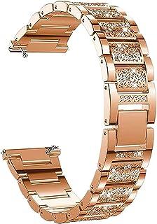 18mm 20mm 22mm Band Vrouwen Diamanten Armband Voor Garmin Horlogeband Vivoactive Metalen Stalen Riem 1033 (Band Color : Ro...