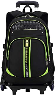 ASdf School Trolley Backpack Outdoor Hiking Decompression Trolley Backpack Primary School Boys School Climbing Staircase Trolley School Bag (Color : Green)