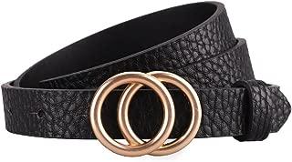 Women's Skinny Belt Fashion Round Buckle Leather Strap