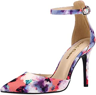 Women's Heel Pumps Stilettos Pointed Toe High Heel Dress Sandals with Ankle Strap Ribbon