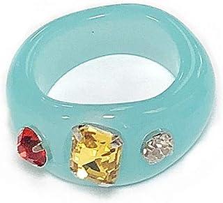 الراتنج ملون كريستال مكعب زركونيا إصبع قابل للتكديس خاتم مشترك ريترو الاكريليك مجوهرات خمر حفلة أنيقة اليدوية هدية حجم 7 أنيق