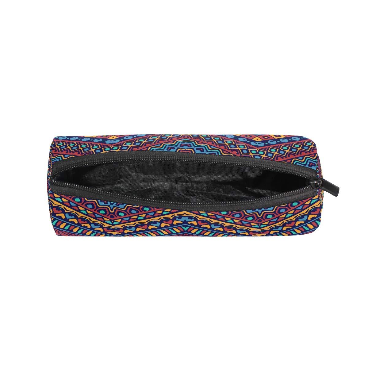 BONIPE - Estuche para lápices, diseño geométrico de bohemio étnico africano, bolsa de papelería escolar con cremallera, bolsa de maquillaje: Amazon.es: Oficina y papelería
