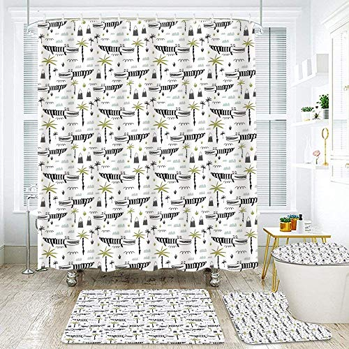 MEJAZING Shower Curtain Sets with Non-Slip Rugs,Toilet Lid Cover and Bath Mat,Funny Crocodiles Abstract Palm Trees and Hills Doodle Artwork Nursery Composition Waterproof Bath Curtains Hooks Included