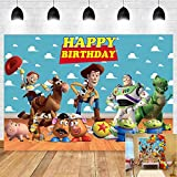 Cartoon Toy Story Birthday Party Theme Photography Backdrops Blue Sky White Clouds Banner Kids Birthday Party Photo Background Cake Table Decoration Supplies Studio Booth Props 5x3ft Vinyl