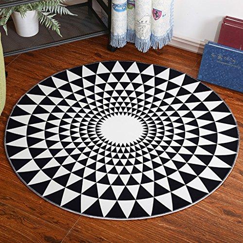 Teppiche Maty okrągłe, wyściełanie komputera, proste czarno-białe dywany do salonu, sypialni, nocne, Wiszący fotel wiklinowy, rozmiar 80 cm
