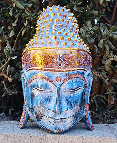 Bali Buddha Wood Mask Carving Meditating Art Asian Home Decor 16' x 10'