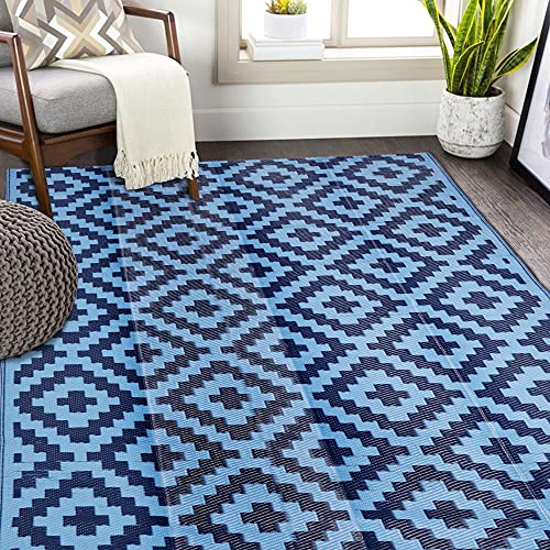 SAND MINE Reversible Mats, Plastic Straw Rug, Modern Area Rug, Large Floor Mat and Rug for Outdoors, RV, Patio, Backyard, Deck, Picnic, Beach, Trailer, Camping, Blue, 5' x 8'