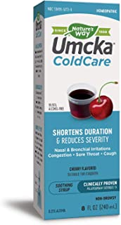 Nature's Way Umcka  ColdCare Shortens Duration & Reduces Severity, 99.95% Alcohol-Free Cherry, 8 Oz. (Packaging May Vary)