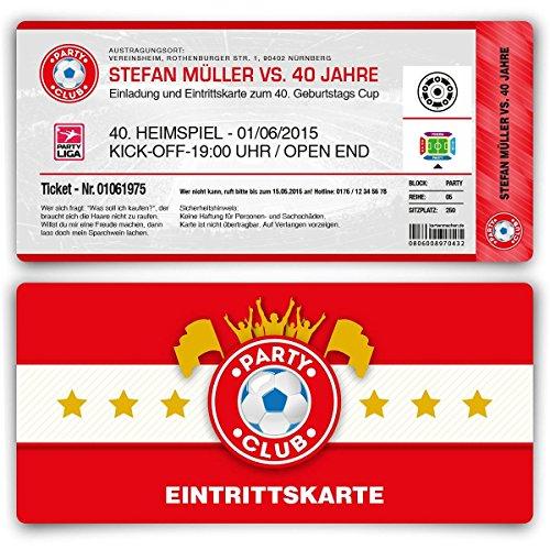 Einladungskarten zum Geburtstag (20 Stück) als Fussballticket Einladung in Rot