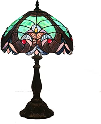 45609f7ba154 12-Inch Tiffany Style Table Lamp With Retro Blue Stained Glass Lampshade  Bedroom Beside Desk