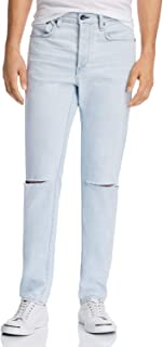Men's Jeans Slim-Fit Ripped Knees Button Fly Blue 34