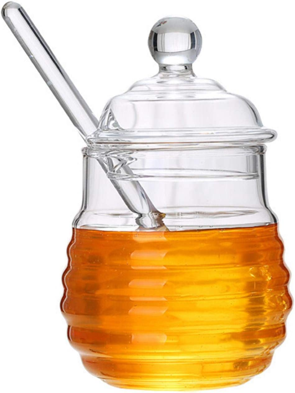 Mona43Henry New mail order Honey Jar with and Max 76% OFF Lid Glass for Kitc Pot Home