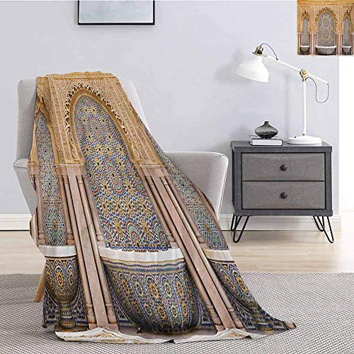 Luoiaax Moroccan Rugged or Durable Camping Blanket Typical Moroccan Tiled Fountain in The City of Rabat Near Hassan Tower Warm and Washable W91 x L60 Inch Apricot Pale Brown