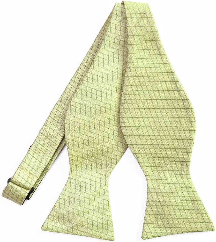 TieMart Regent Morris Light Chartreuse Groomsmen Lattice Cotton/Silk Self-Tie Bow Tie