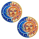 ZOOPOLR 2 Pcs Delicate Embroidered Patches, Moon&Sun Patches, Iron On Patches, Sew On Applique Patch, Cool Patches for Men, Women, Boys, Girls, Kids