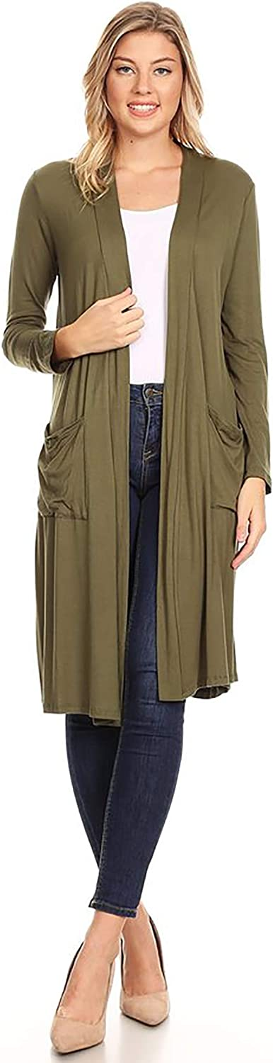Women's Solid Casual Lightweight Loose Fit Pocket Open Front Knit Cardigan