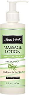 Bon Vital' Therapeutic Touch Massage Lotion Made with Olive Oil to Repair Dry Skin & Soothe Sore Muscles, Best Skin Therapy Lotion, Moisturizes Skin During Massages for Smooth, Soft Skin, 8 Oz Bottle