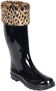 Women Rubber Rain Boots, Faux Fur Mock Sock, Leopard, 7